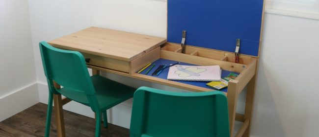 Remodelaholic | DIY IKEA Hemnes Desk Hack into Double-Duty Shared Kids Desk with Hidden Storage