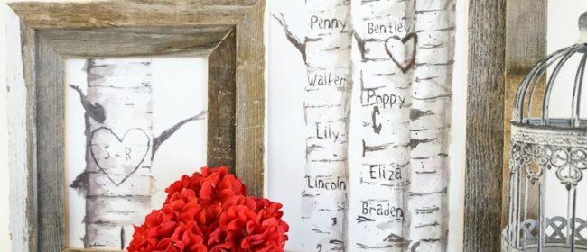 Remodelaholic | Printable Birch Tree Art Prints with Custom Carved Initials