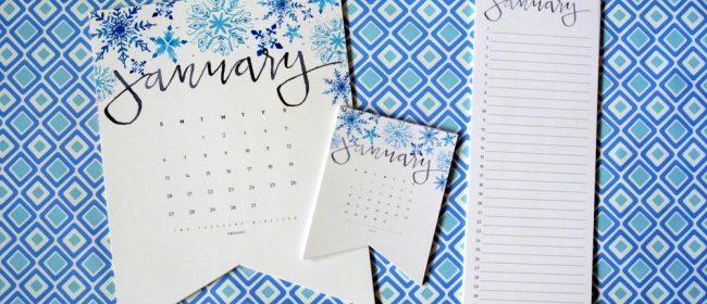 Remodelaholic | 2019 Watercolor Handlettered Printable Calendar + Perpetual Calendar for Birthdays