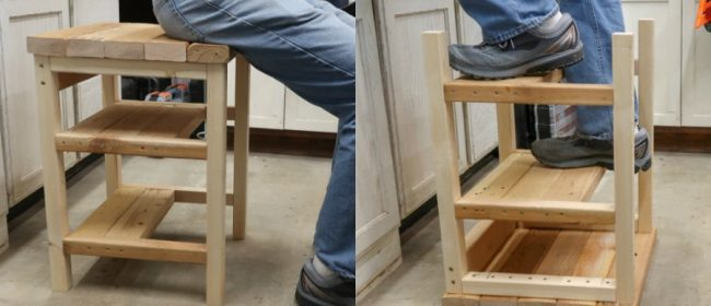 Remodelaholic | Build a Flip-Over 2×4 Bar Stool Step Ladder AKA Hoosier Step Stool