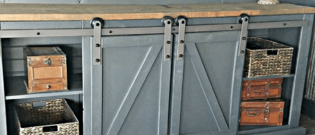 Remodelaholic | How To Build a Sliding Barn Door Entertainment Center For Your Man Cave