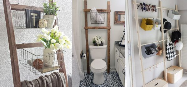 Remodelaholic   12 More Wooden Ladder Decor and Storage Ideas